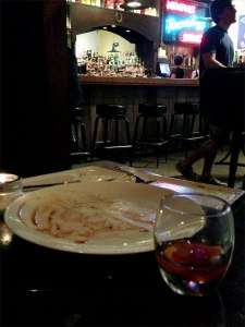 What's left of the Seven Sows Old Fashioned and a great meal